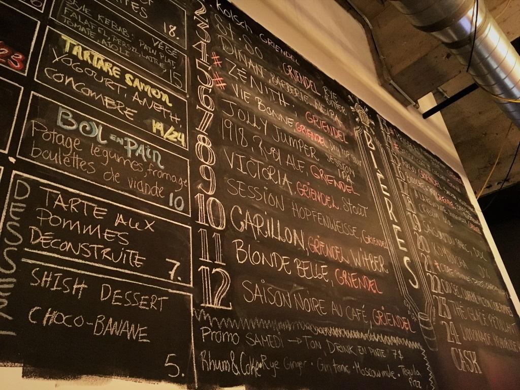 Brasserie Griendel Beer Menu, Quebec, Canada