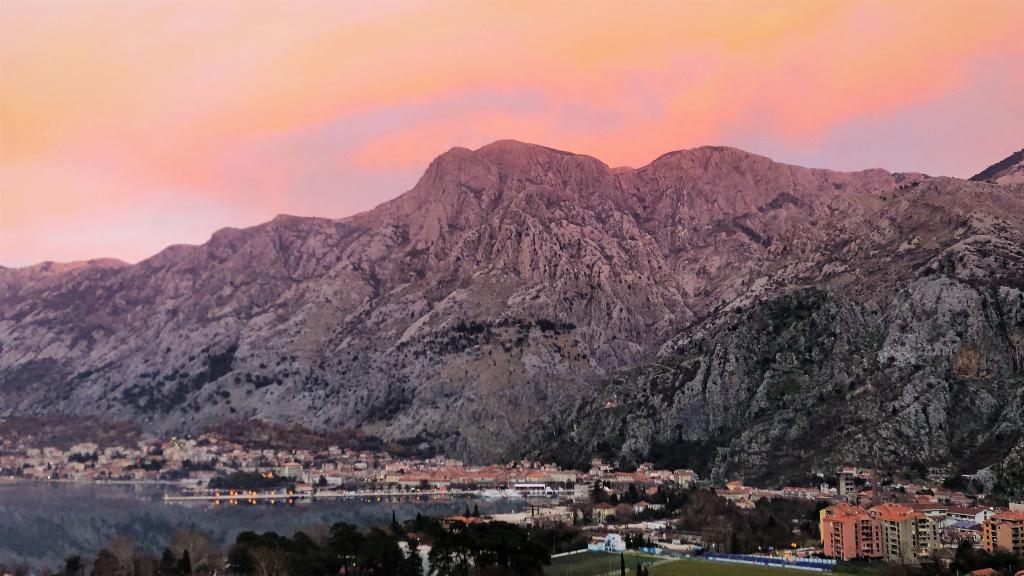 Pink Mountains at Sunset, Kotor, Montenegro