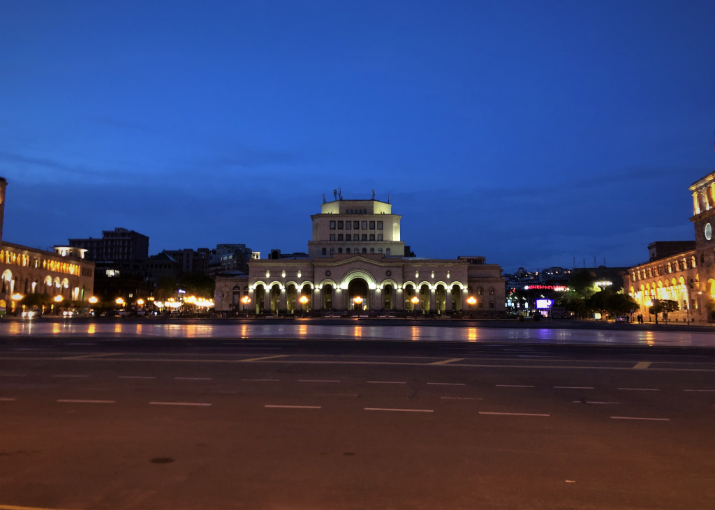 Republic Square at Dusk, Yerevan, Armenia